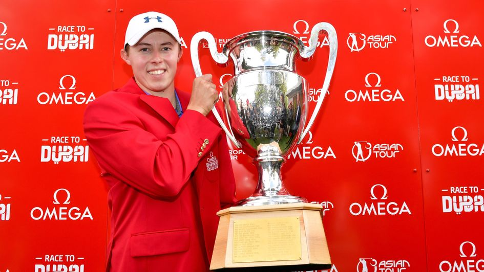 Matt Fitzpatrick shows off the European Masters trophy