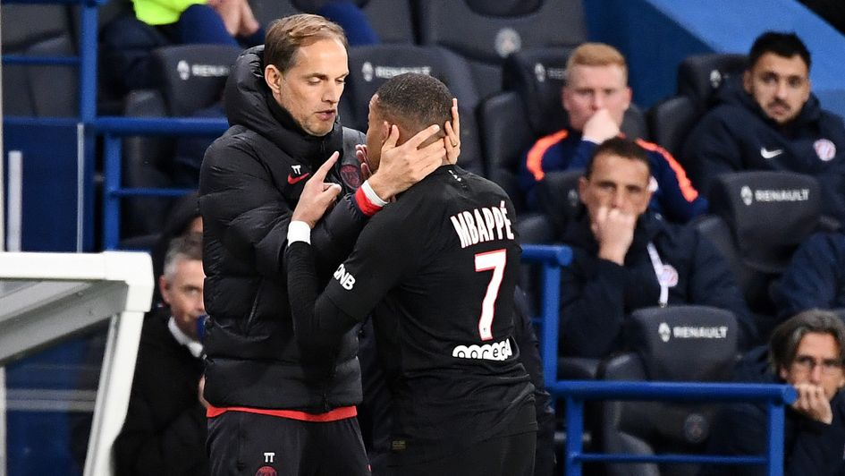 Kylian Mbappe (right): France forward clashed with PSG boss Thomas Tuchel after being substituted in their win over Montpellier