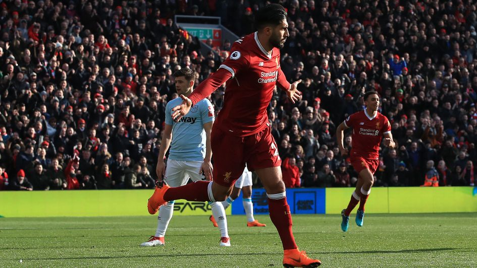 Emre Can celebrates after scoring for Liverpool