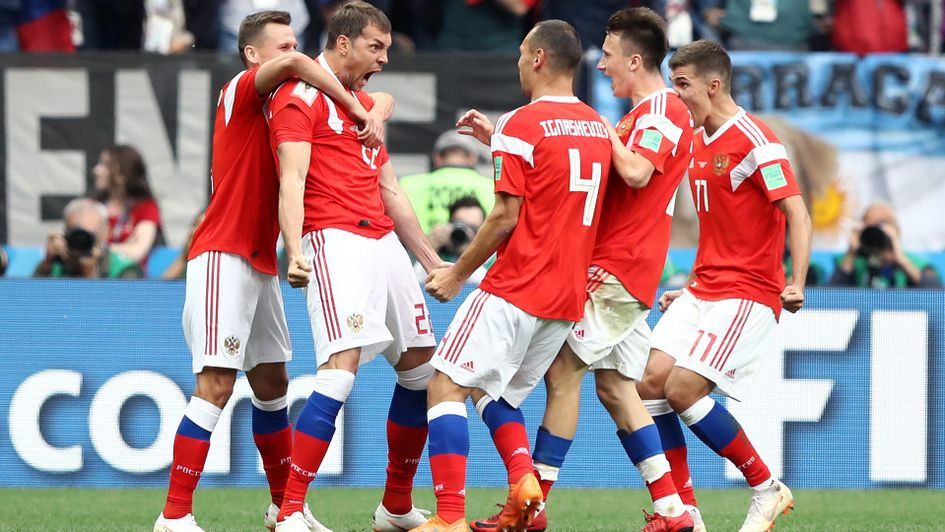 Artem Dzyuba: The 29-year-old celebrates with his Russia team-mates after scoring v Saudi Arabia in the World Cup