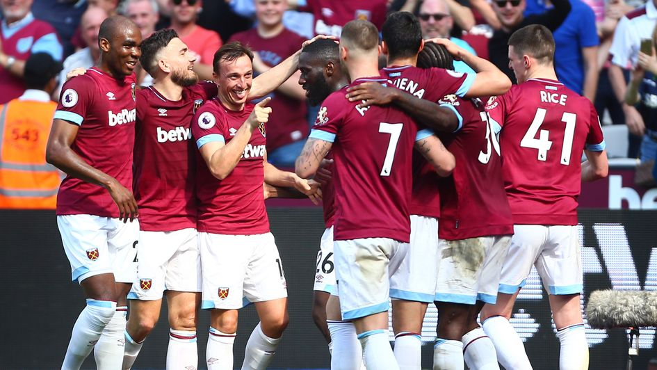 West Ham celebrate after Michael Antonio opened the scoring against Leicester