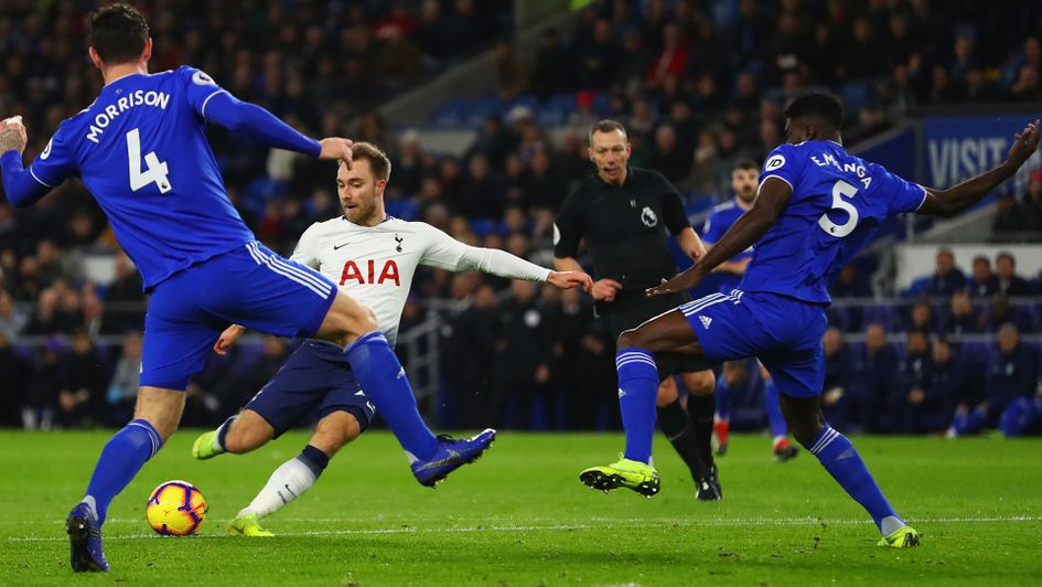 Christian Eriksen scores for Tottenham against Cardiff