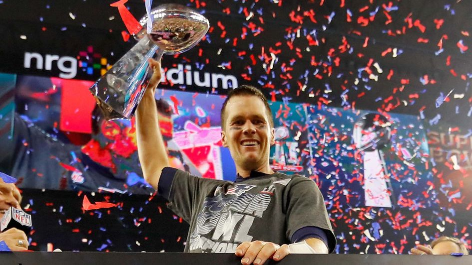 Tom Brady celebrates winning the Super Bowl with the New England Patriots