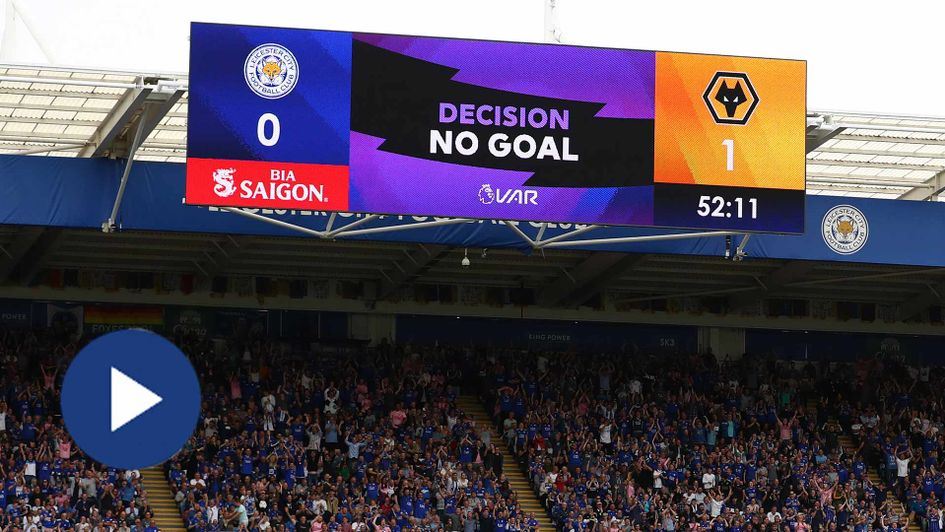 VAR rules out a Wolves goal against Leicester in their Premier League game