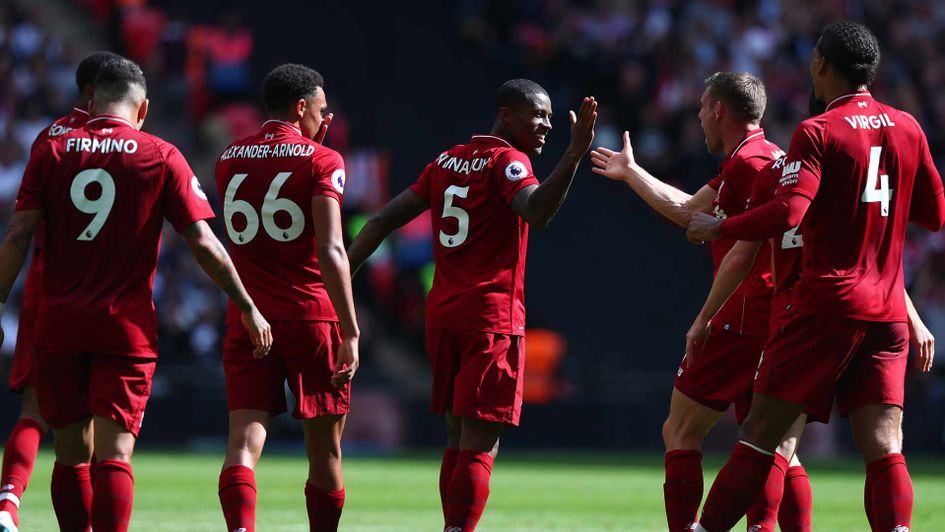 Gini Wijnaldum celebrates a goal for Liverpool