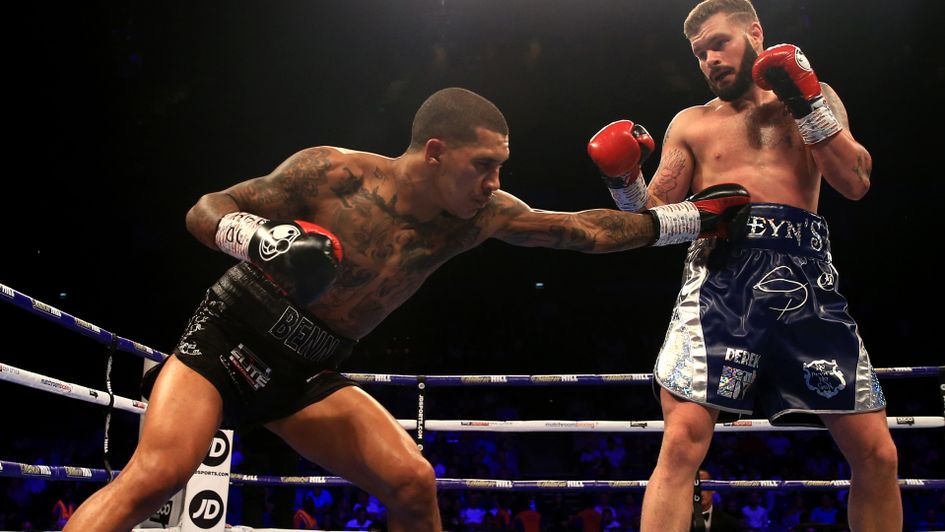 Conor Benn lands with a left