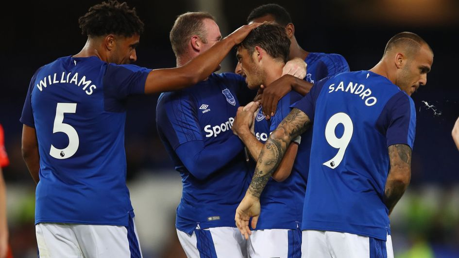 Everton celebrate during their Europa League campaign