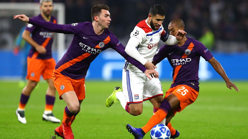 Nabil Fekir looks to find a way through the Manchester City defence