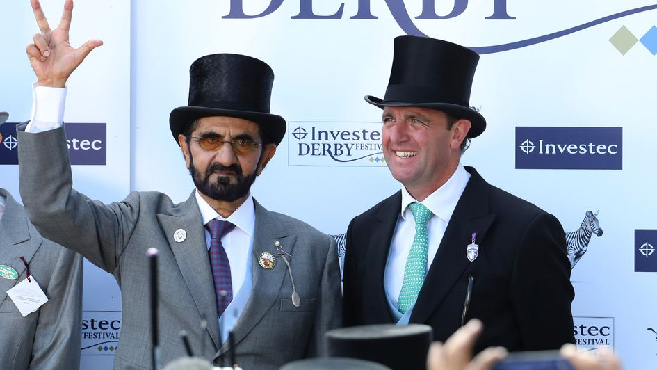 Sheikh Mohammed pictured with trainer Charlie Appleby