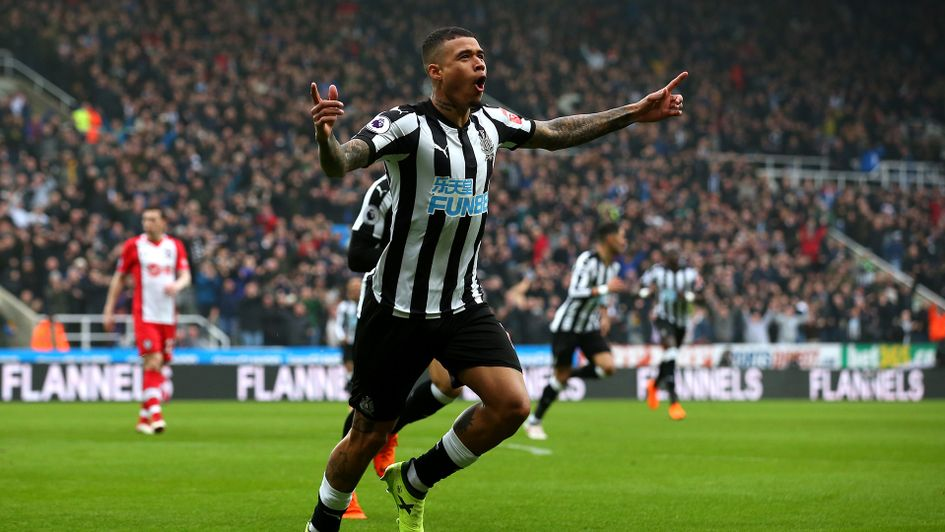 Kenedy celebrates after scoring for Newcastle