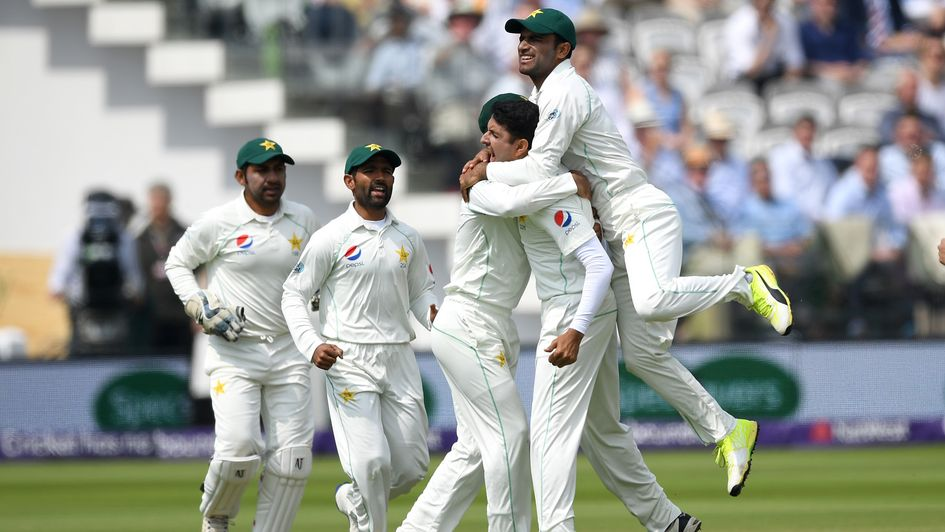 Pakistan celebrate the early wicket of Jos Buttler