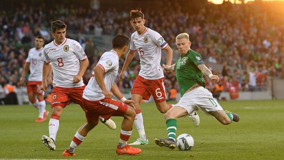 Gibraltar in action against Republic of Ireland
