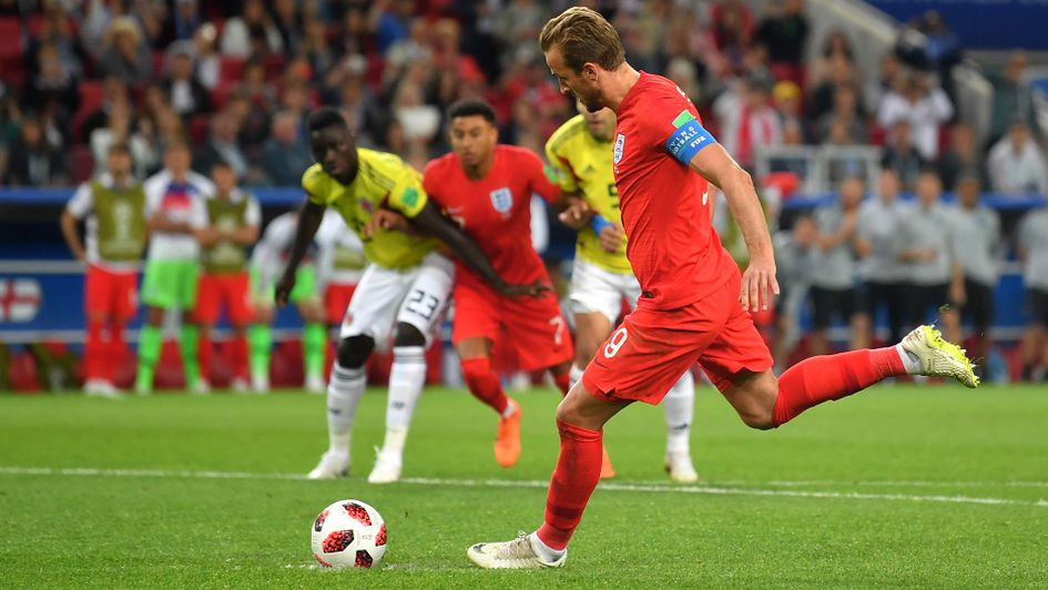 Harry Kane scores his penalty against Colombia