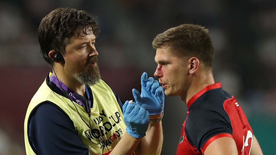 Owen Farrell gets treatment during England v USA in the Rugby World Cup