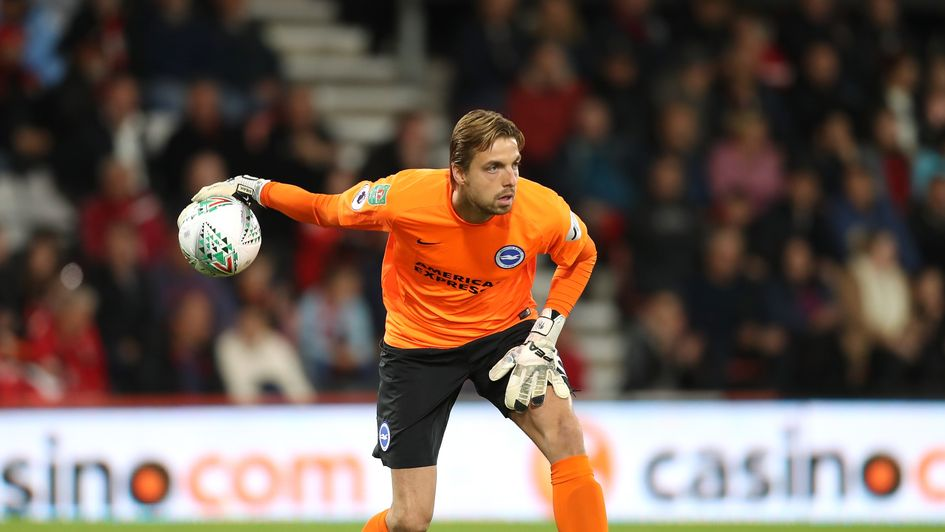 Tim Krul in Carabao Cup action for Bournemouth