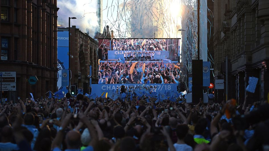 Celebrations for Manchester City at the end of the 2017/18 season