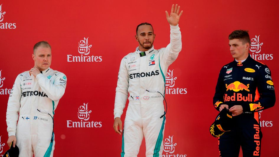 The top three drivers on the podium after the Spanish Grand Prix