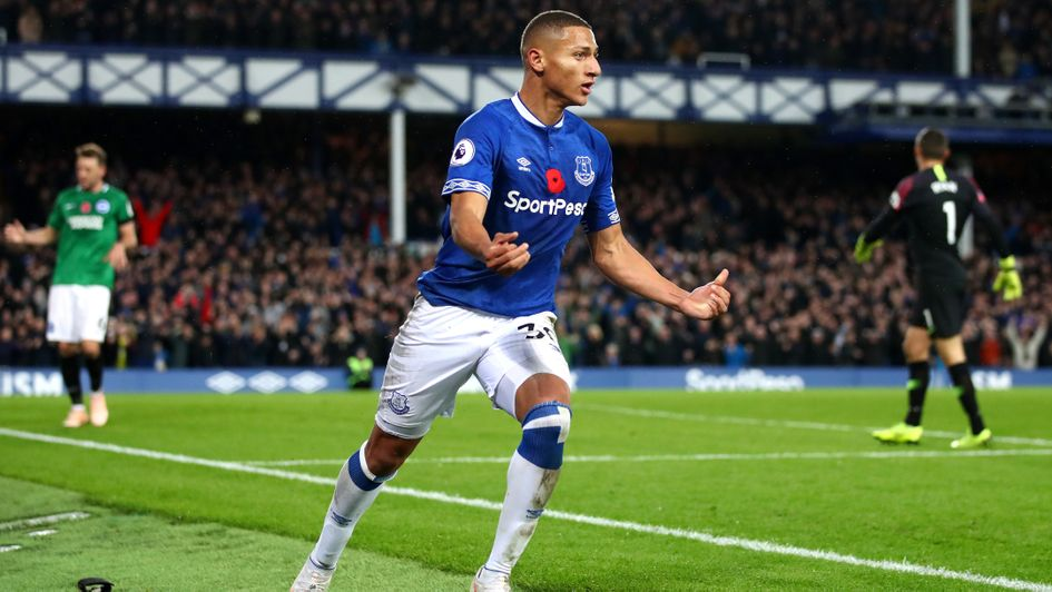 Everton's Richarlison celebrates his goal v Brighton
