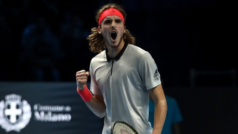 Stefanos Tsitsipas celebrates a point in Madrid