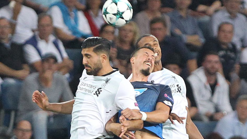 A well-contested header between Liverpool and Hoffenheim