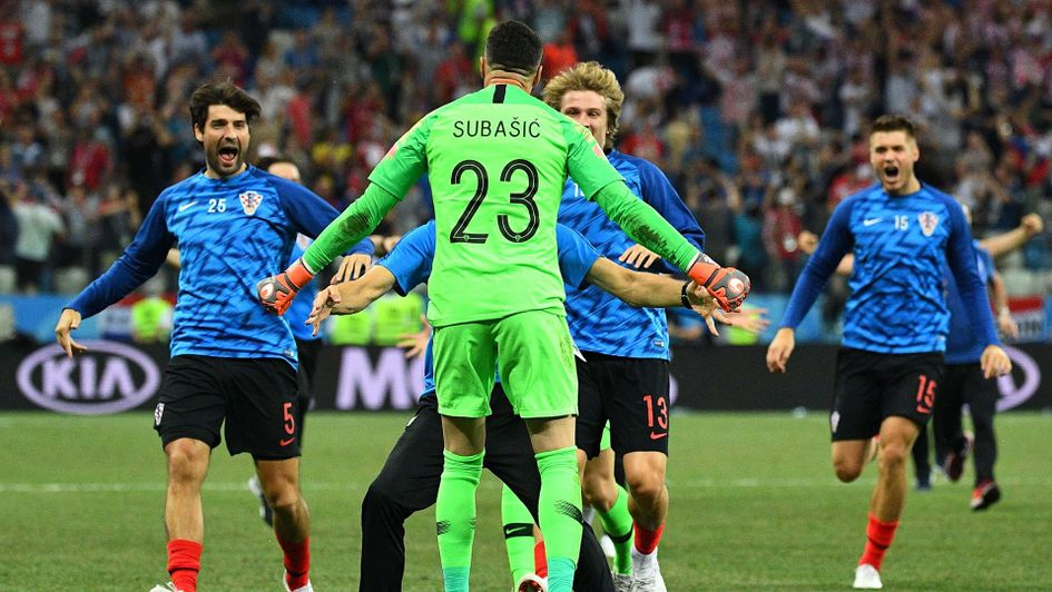 Danijel Subasic celebrates his penalty heorics for Croatia