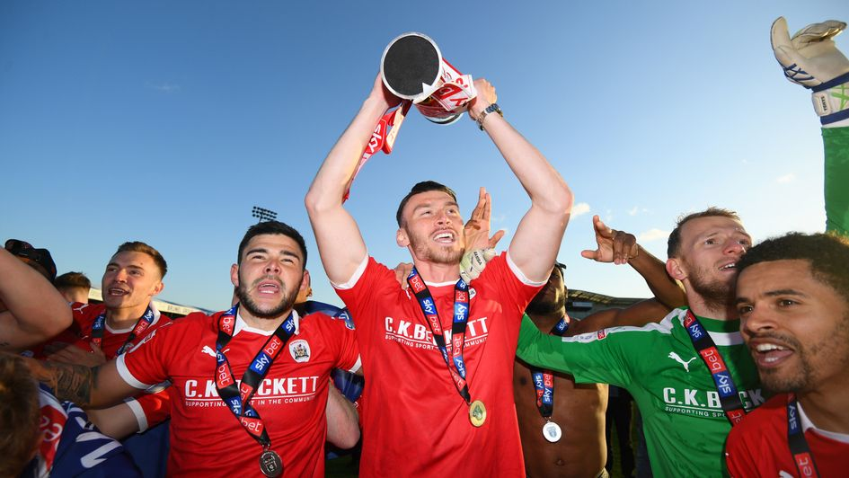Kieffer Moore: Welsh forward celebrates Barnsley's promotion from Sky Bet League One