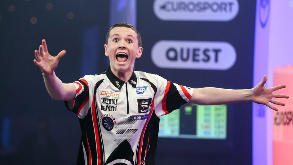 Leighton Bennett celebrates his incredible bullseye finish (Picture: Tip Top Pics/Chris Sargeant)