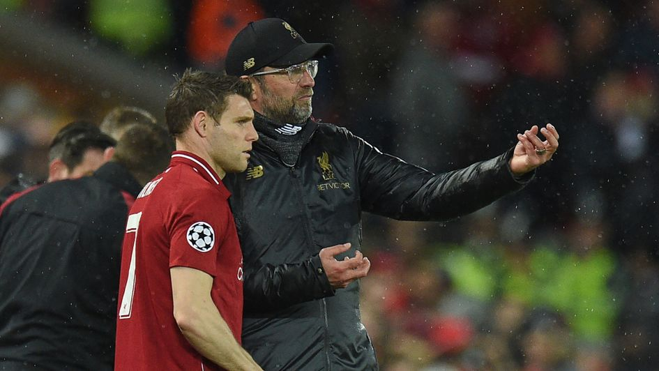 Jurgen Klopp gives out instructions to James Milner