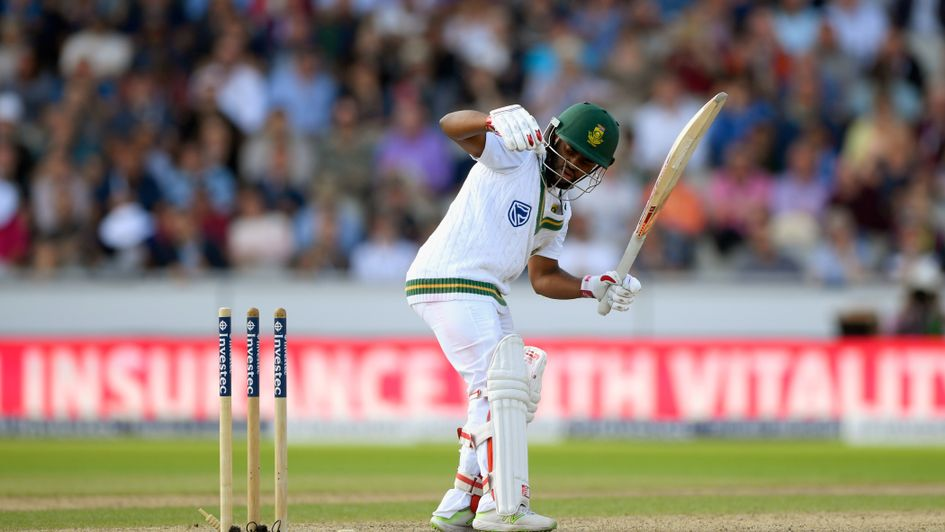 Temba Bavuma is bowled by James Anderson