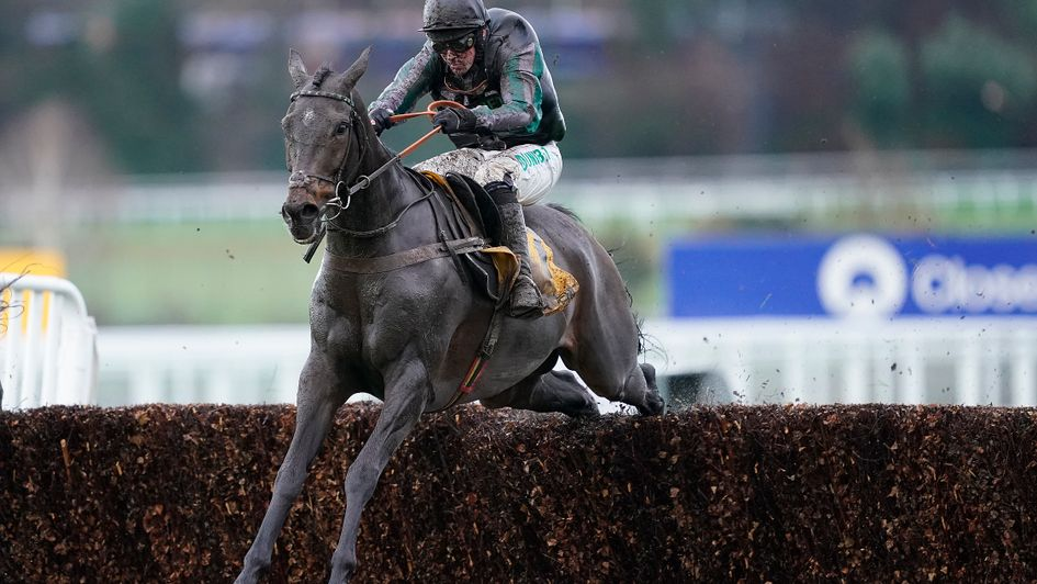 Altior jumps the last on his way to victory in the Tingle Creek