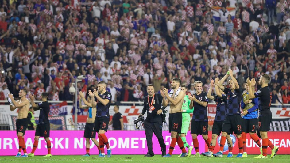 Croatia players celebrate their Euro 2020 qualifying win over Hungary