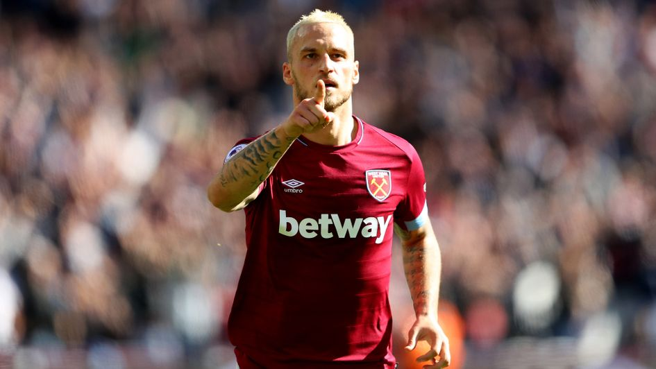 Marko Arnautovic celebrates after scoring the third goal