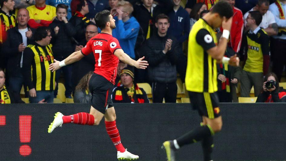 Shane Long: The Irish striker celebrates after scoring the fastest Premier League goal in Watford against Southampton