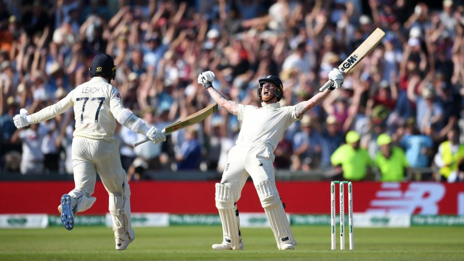 Jack Leach rushes to congratulate Ben Stokes