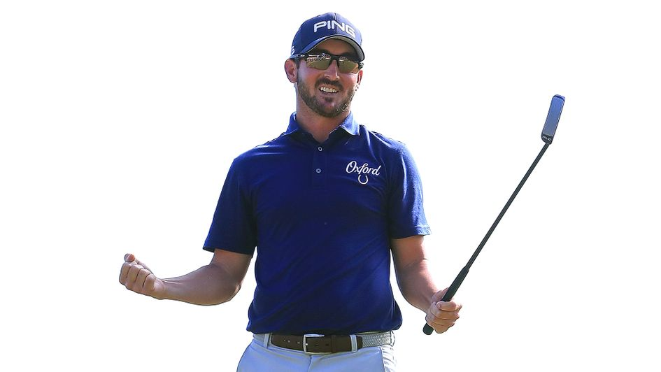 Andrew Landry celebrates his maiden victory on the PGA Tour