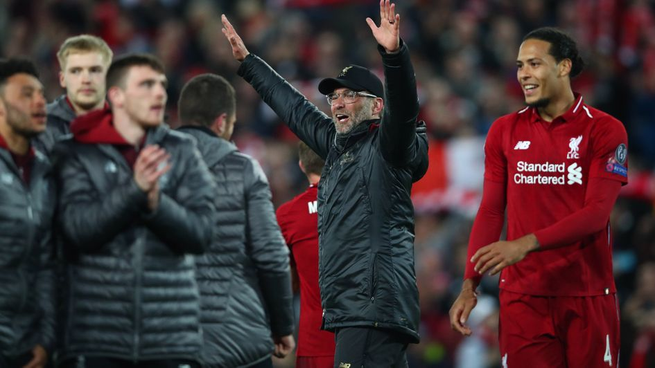 Jurgen Klopp celebrates after Liverpool's shock victory over Barcelona to reach the Champions League final