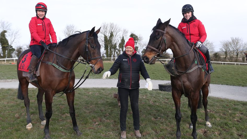 Our Duke and Sizing John with their trainer