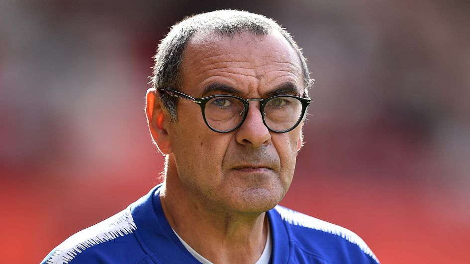 Chelsea boss Maurizio Sarri watches his team in action