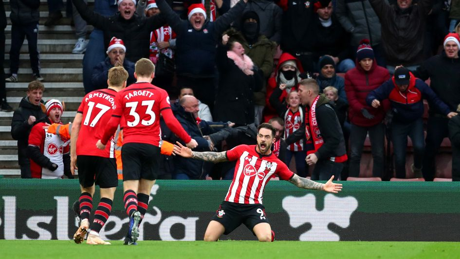 Danny Ings celebrates his goal for Southampton against Arsenal