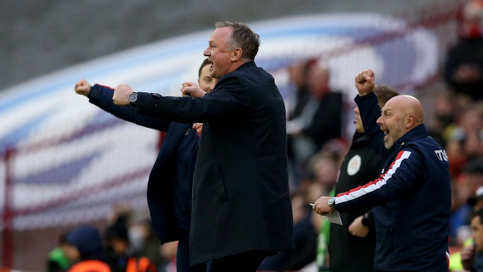 Michael O'Neill celebrates a win in his first game as Stoke boss