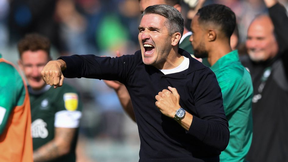 Plymouth boss Ryan Lowe celebrates