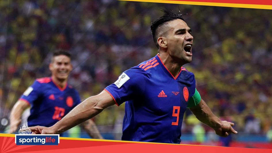 Radamel Falcao celebrates his goal for Colombia at the World Cup