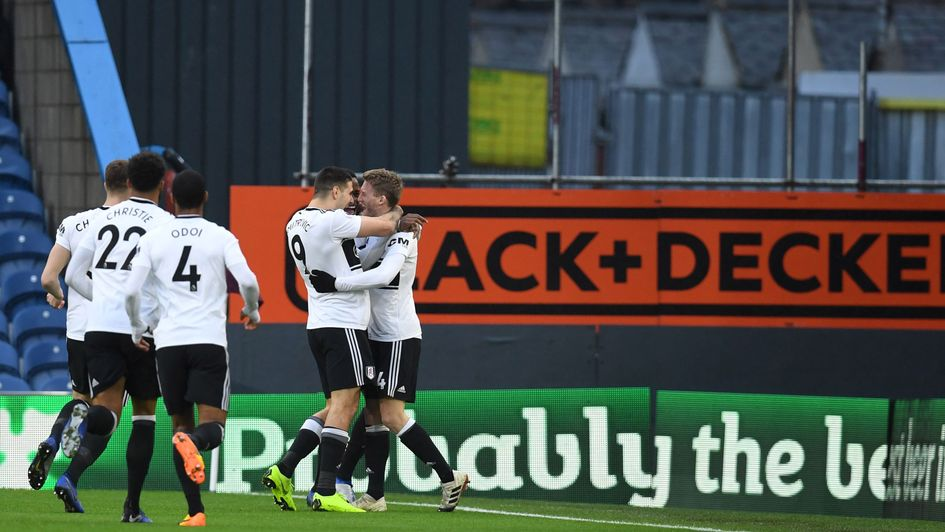 Fulham celebrate Andre Schurrle's goal at Burnley