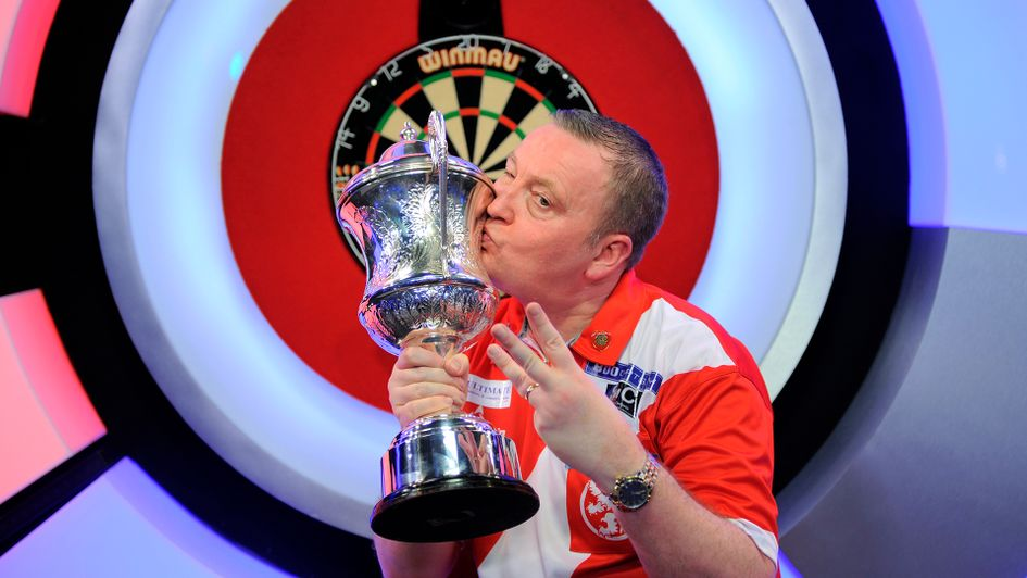 Glen Durrant celebrates his third successive Lakeside title