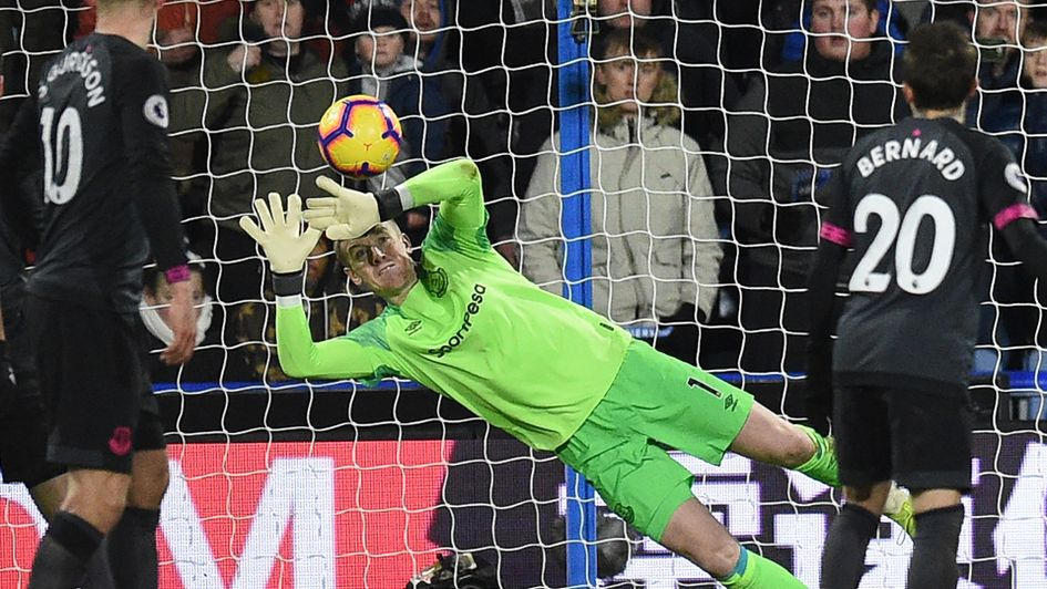 Jordan Pickford in action during his man of the match display in Everton's win at Huddersfield