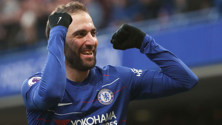 Gonzalo Higuain celebrates his first Chelsea goal