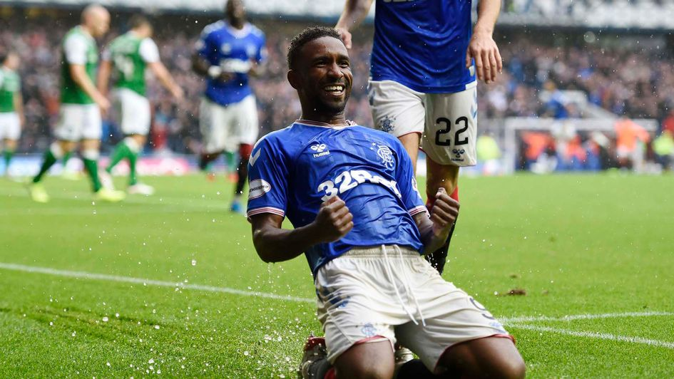 Jermain Defoe celebrates scoring for Rangers