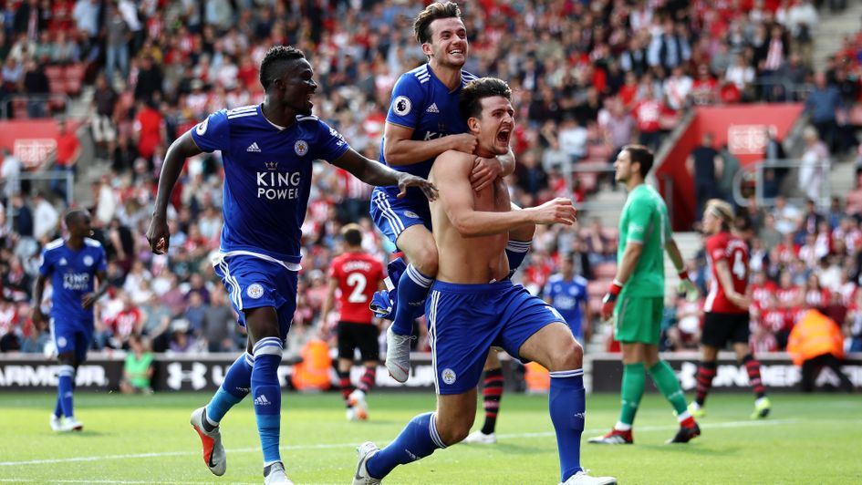 Harry Maguire celebrates his winner for Leicester at Southampton