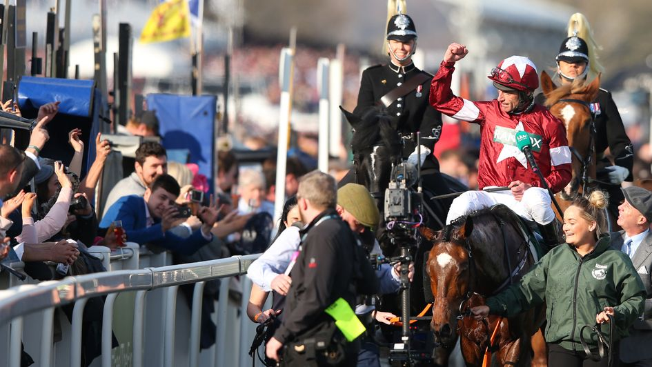 Punters and racegoers celebrate as Tiger Roll wins the National