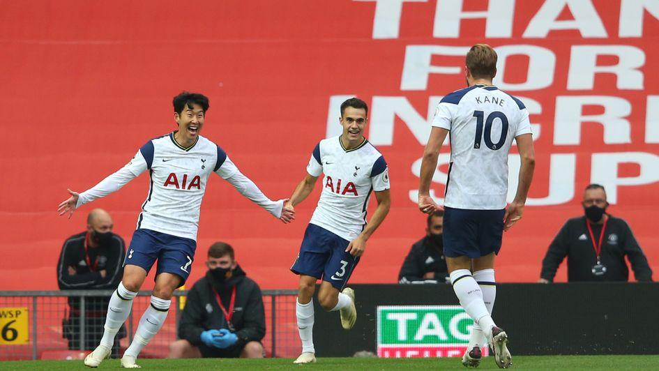 Son Heung-min celebrates scoring at Old Trafford